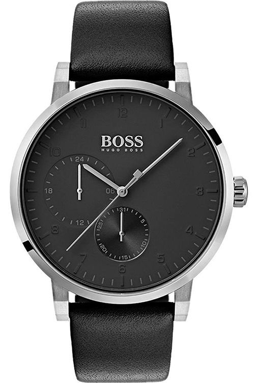 32af7920c9e Details about Hugo Boss Men s Oxygen Quartz Chrono Stainless Steel Black  Leather Watch 1513594