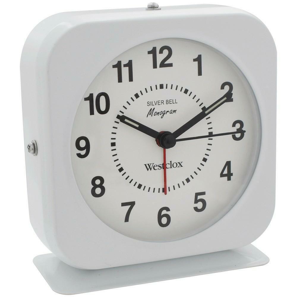 Détails sur WESTCLOX Batterie Blanc Boîtier Métal Quartz Alarm Clock Loud Bell Lumineuse Marqueurs afficher le titre d'origine